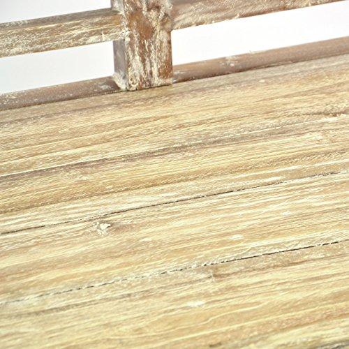 DIVERO 2-Sitzer stabile antike Gartenbank 115 cm massiv Teak-Holz Handarbeit 2 Personen Bank mit Schnitzereien weiß whitewash - 5