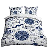 HOSIMA 3D Print Over Set Full Size Nautical Pattern Bedding Set Decorative Microfiber Polyester Comforter Cover Travel Around The World Print with 2 Pillow(No quilt!)(BIX64,Full 78