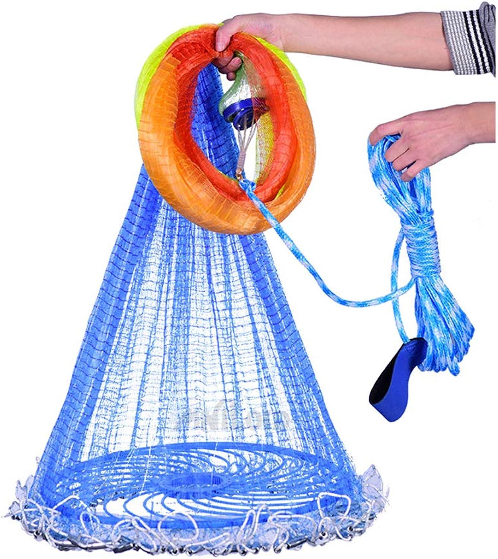 BYWWANG fangen Fischernetz Small Mesh Trap Cast Netzwerk Hand Throw Nets Fishing Tools Gre 5,4 m mit Platinen
