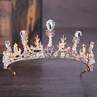 Penxina Pearl Crystal Crown for Bridal, Luxury Rhinestone Wedding Queen Crown for Women, Crystal Pageant Tiara Headband Hair Accessories for Wedding Prom Birthday (Gold)