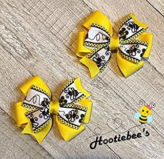 Bumble Bee Toddler Hair Bow Set (Yellow or Black)