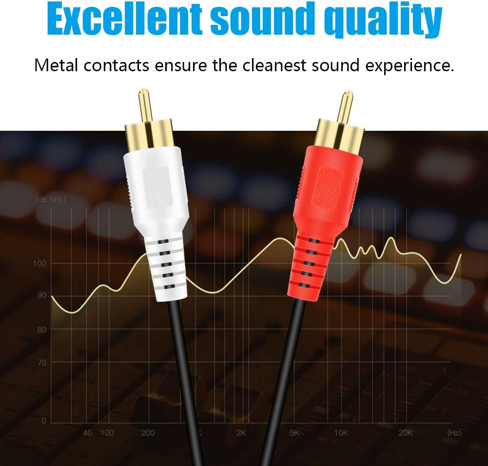 Tanbin RCA Stereo Cable Gaming Consoles Hi-Fi Systems 12ft 4m HDTV 2RCA Male to 2RCA Male Stereo Audio Cable Gold Plated for Home Theater