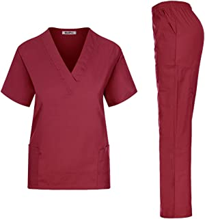 MedPro Women's Unisex Solid Medical Scrub Set V-Neck Top and Cargo Pants Wine M (GT-766)