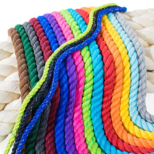 PARACORD PLANET Twisted 3 Strand Natural Cotton Rope Artisan Cord – 1/4, 1/2, 5/8, 3/4, and 1 inch Diameters – Super Soft White and Assorted Colors by The Foot – 10', 25', 50', 100' and Full Spools