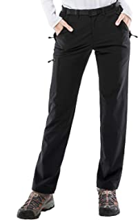 Women's Stretch Cargo Hiking Pants Lightweight Tactical Pants with YKK Zipper Pockets, Black