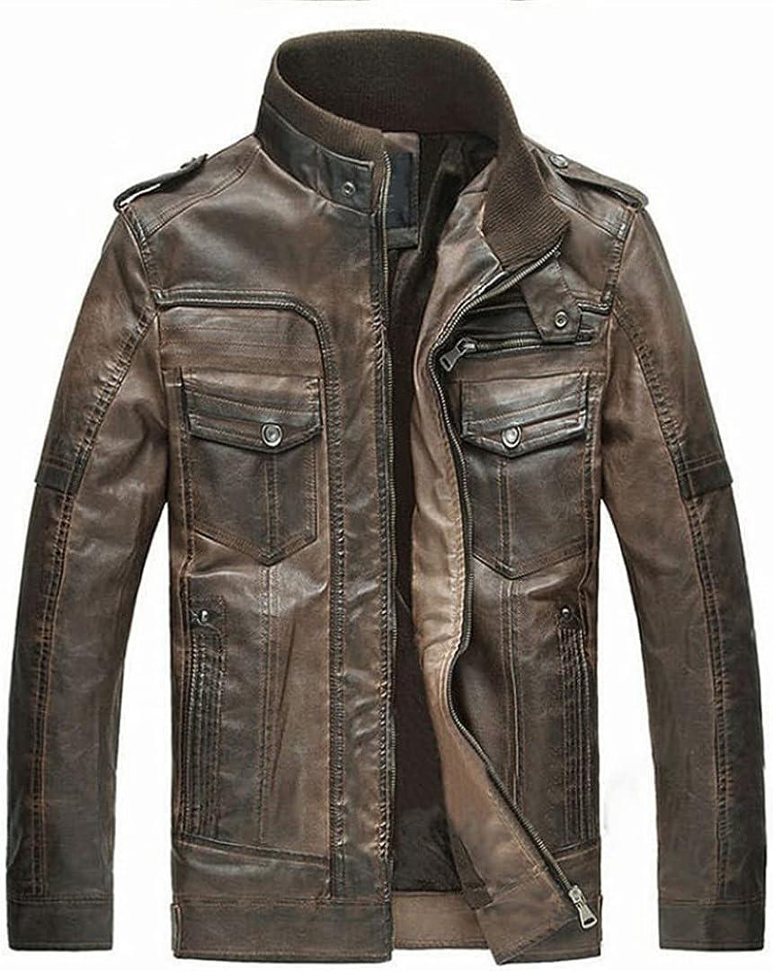 Men's Winter Leather Fur Jacket Men Famous Motorcycle Leather Coat