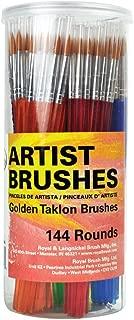 Royal Brush Round Synthetic Golden Taklon Hair Polymer Handle Classroom Value Brush Set, Assorted Size, Set of 144