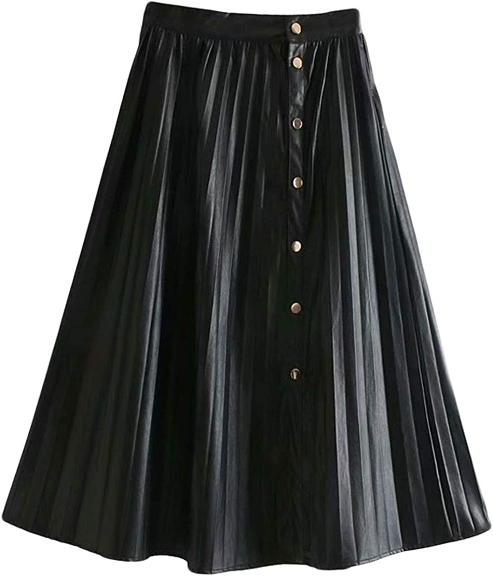 CHARTOU Women's Casual One Piece PU Faux Leather Pleated Flared Midi A-Line Skirt