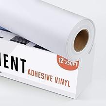"YRYM HT White Adhesive Vinyl Roll – Permanent Adhesive Vinyl Rolls – 12""x50FT White Vinyl Sheets for Cricut, Silhouette an..."