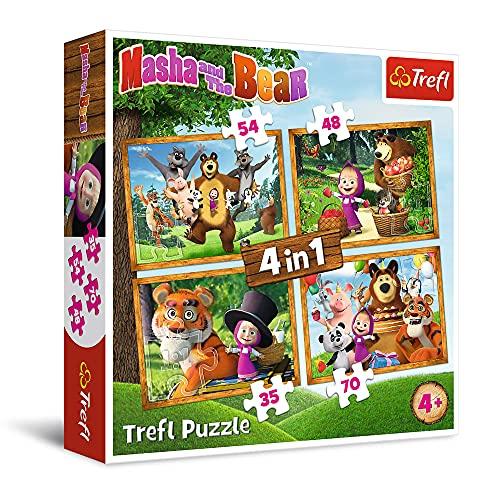 Trefl Leśne Przygody Maszy Puzzle 4 w 1 o Wysokiej Jakości Nadruku dla Dzieci od 4 lat