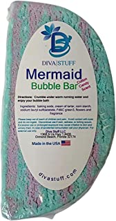 Mermaid Bubble Bar, Cotton Candy Scented Bath Bubble Bar By Diva Stuff, Solid Bubble Bath Great For Travel and Kids