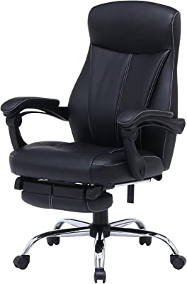 不二貿易 オフィスチェア デスクチェア ブラック オットマン付き 無段階リクライニング 回転 PVC 合皮 ゼクス 15505
