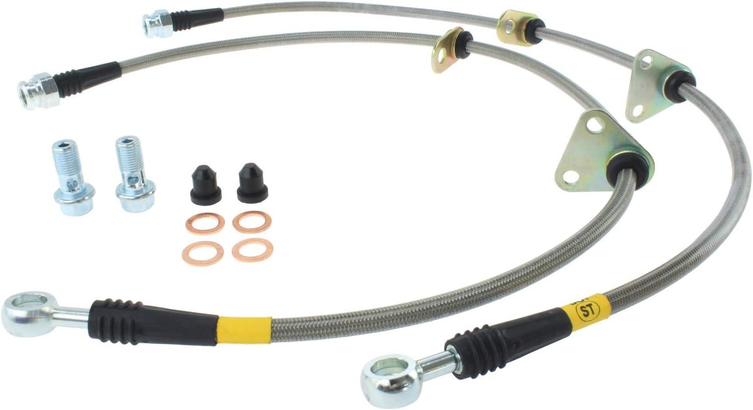 Transparent Red Hose /& Stainless Banjos Pro Braking PBK9545-TRD-SIL Front//Rear Braided Brake Line