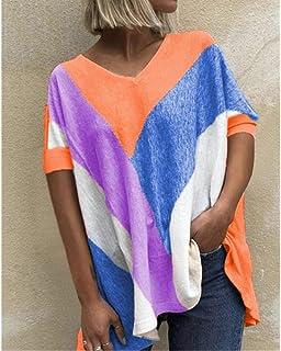 CDDKJDS T Shirt For Womem Summer Loose Casual Plus Size Pullover Tops V-Neck Printing T-Shirt Short Sleeve Female Tee Ladi...