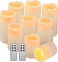 comenzar Flameless Candles, Waterproof Outdoor Indoor Battery Candles Set of 9(H 4