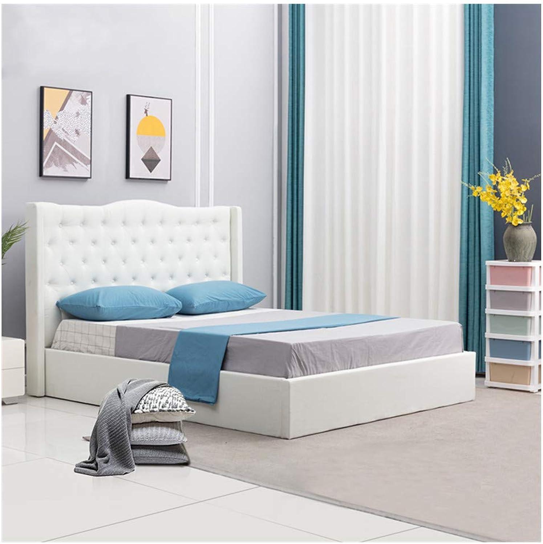 OFCASA Luxuris Wei Polsterbett Doppelbett Claire 160 x 200 cm Inklusive Lattenrost, mit Stoffbezug, für Schlafzimmer, Hotel
