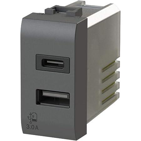 color blanco USB3.0 Fuente de alimentaci/ón USB 3 A, 2 salidas, conector tipo A y tipo C, compatible con Bticino Matix