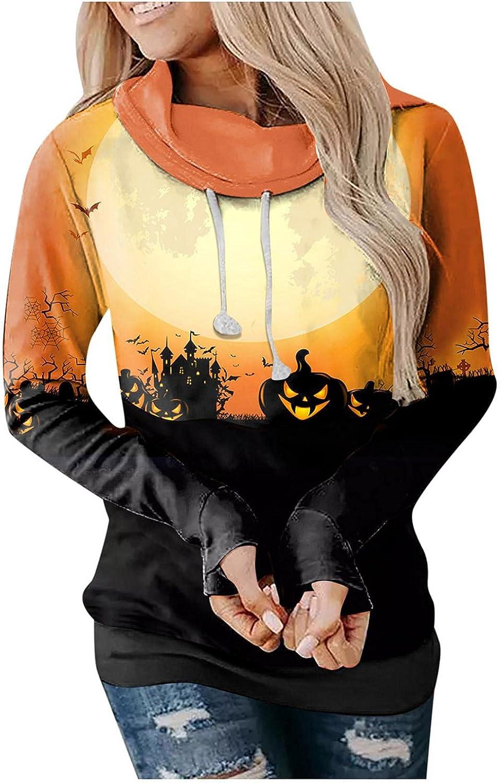 Xinantime Halloween Print Sweater Women's Hooded Drawstring Sweatshirt Ladies Long-Sleeved Patchwork Blouse Pullover Tunic