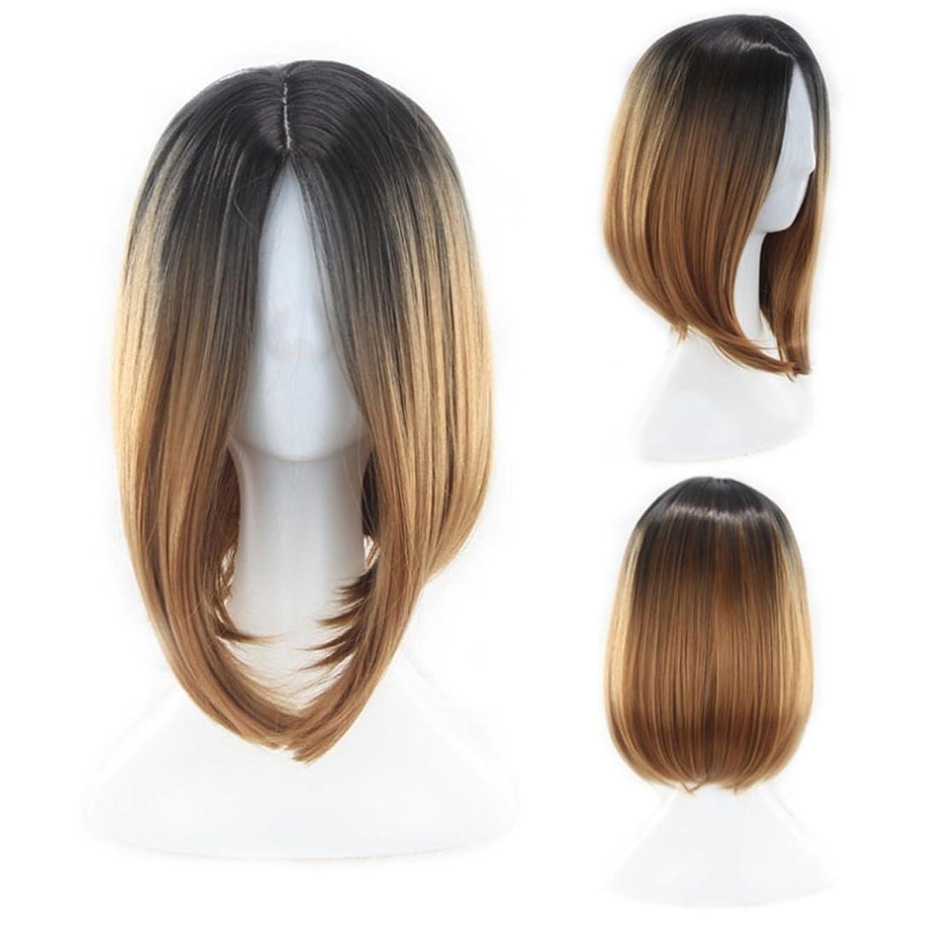 JIANFU 女性用ナチュラルグラデーションカラーウィッグミドルバンズ付きショートボボヘッドウィッグ髪用耐熱ウィッグ長さ35cm (Color : Brown gradient)