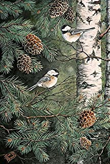 Toland Home Garden Pinecone Chickadees 28 x 40 Inch Decorative Fall Winter Bird Pine Tree House Flag - 1010429