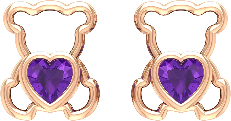 1/2 CT Teddy Bear Stud Earrings with Heart Cut Amethyst (AAA Quality),14K White Gold,Amethyst