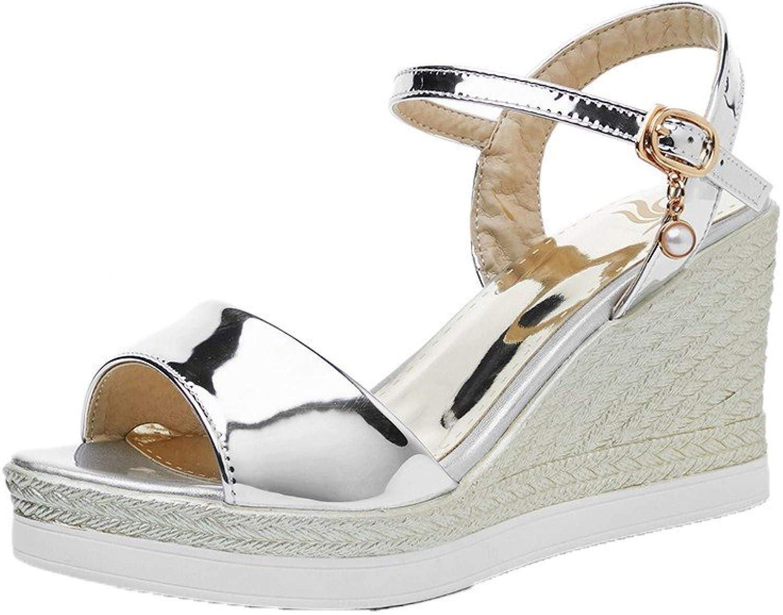 AmoonyFashion Women's Solid Pu High-Heels Buckle Open-Toe Sandals, BUTLT007307