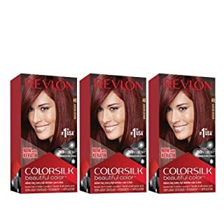 Revlon Colorsilk Beautiful Color, Permanent Hair Dye with Keratin, 100% Gray Coverage, Ammonia Free, 49 Auburn Brown (Pack of 3)