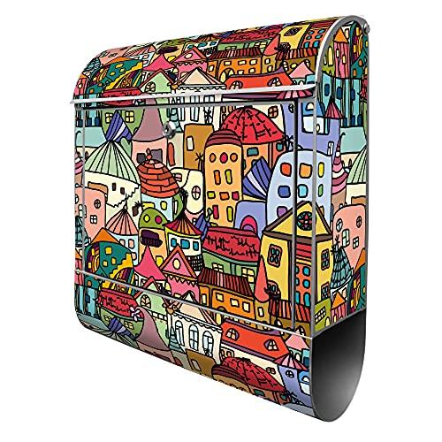 banjado® Design Briefkasten mit Motiv Funky Town 39x47x14cm & 2 Schlüssel - Briefkasten Stahl silber mit Zeitungsfach pulverbeschichtet - Postkasten A4 Einwurf inkl. Montagematerial