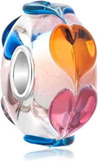 ReisJewelry 925 Sterling Silver Core Heart Charms Murano Glass Beads For Bracelets