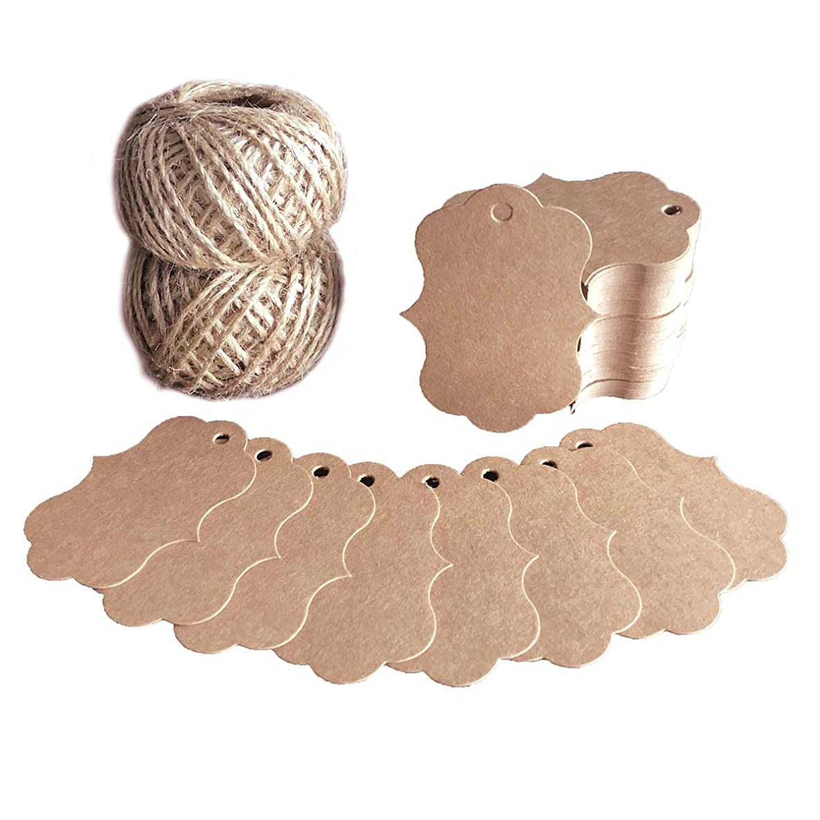 Blank Tags 200 PCS Fancy Frame Gift Tags Handmade Kraft Paper Craft Tags with 200 Feet Vintage String for Party Favors