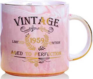 1959 60th Birthday Gifts for Women and Men Ceramic Mug - Funny Vintage 1959 Aged To Perfection - Anniversary Gift Idea for Him, Her, Mom, Dad Husband or Wife - Ceramic Marble Cups 13 oz (Pink)