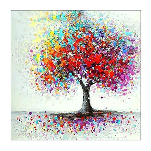 diamond painting albero della vita MXJSUA Pittura Diamante 5D Kit Trapano Rotondo Completo Incollato Artigianato Decorazione della Parete della Casa Albero Colorato 30x30cm