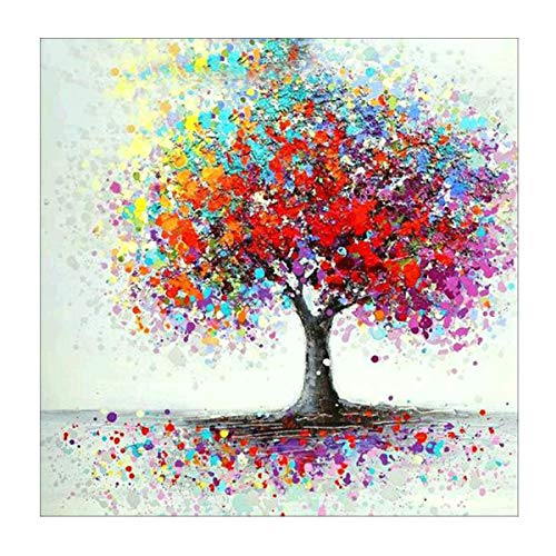 MXJSUA 5D Diamond Painting Full Round Drill Kits For Adults Pasted Arts Craft for Home Wall Decor Colorful Tree 12x12in
