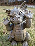 Ebros Whimsical Garden Dragon Making Funny Faces Statue 10.25' H Cute Baby Dragon Faux Stone Resin Finish Figurine Dungeons and Dragons Mythical Fantasy Sculpture Guest Greeter Home Decor