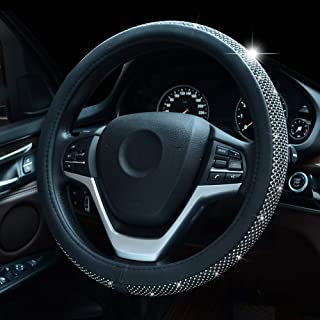 Bling Bling Rhinestones Steering Wheel Cover for Women Diamand Crystal Steering Wheel Cover with PU Leather Universal Fit ...