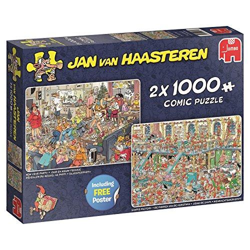 Jumbo Puzzle Silvesterparty und Weihnachtswerkstatt von Jan Van Haasteren, 2 Puzzle mit je 1000 Teilen - 19082