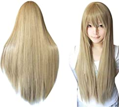 Anogol Hair+Cap Blonde Long Straight Wig Synthetic Wig Blonde Cosplay Wig With Bangs Blonde Cosplay Wig for Girls Cosplay Costume Party Halloween Anime Wigs