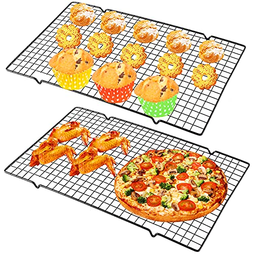 2 Pack Cooling Rack Baking Rack,Stainless Steel Wire Cooling Racks Fit Half Sheet Pan,Cross Wire Racks for Cool Cookies,Breads,Cakes,Oven Safe for Cooking,Roasting(16 x 10 Inch,Black)
