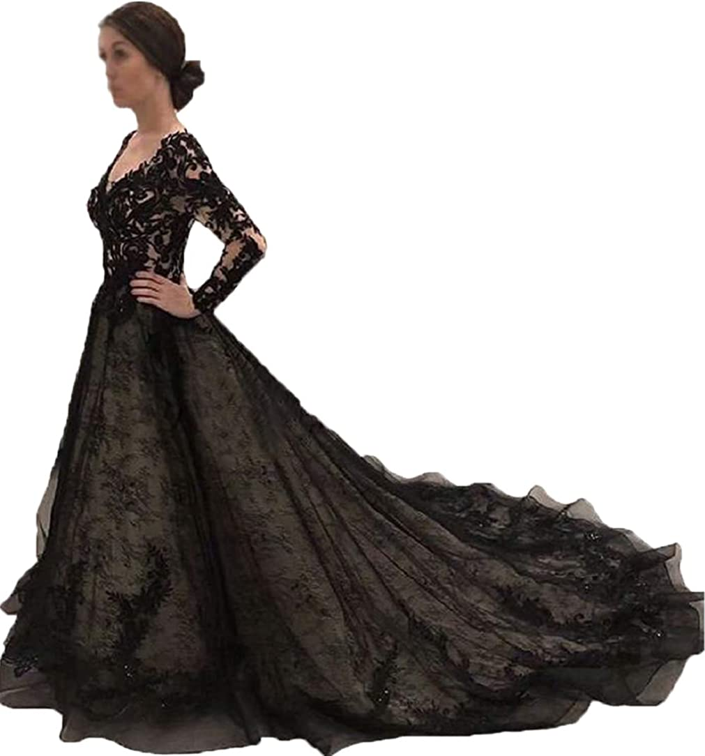 YiMinpwp Gothic Black Lace Wedding Dresses S Long 2019 Albuquerque Mall Bride for New life