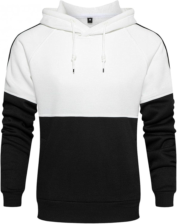 XUNFUN Men's Novelty Color Block Fleece Hoodies Casual Cozy Long Sleeve Sport Pullover Sweatshirts with Kanga Pocket
