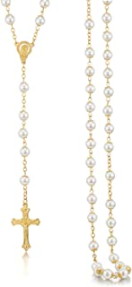 Rosary Necklace for Women White Pearl Beads Gold Chain Crucifix Pendant Rosary Necklace