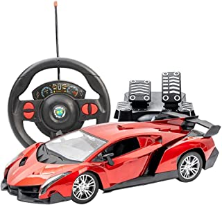 KKEYE Remote Control Car Realistic Driving RC Car with Gravity Sensor Steering Wheel and pedals RC Luxury Sports Car Electric Drift Racing Car Hobby Toy Vehicle Xmas Gift for Kids or Adults -Red