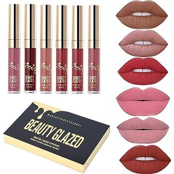 Beauty Glazed Lipstick Nude 6PCS Matte Liquid Lip Gloss Moisturizing Waterproof Lips Makeup set Durable Lipgloss Mini Birthday Edition Long Wearing Matte Lipstick Set