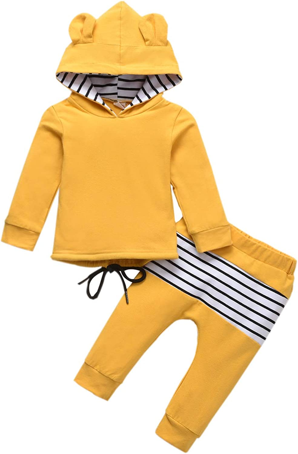 Toddler Baby Boy Girl Fall/Winter Clothes Stripe Outfits Bear-Eared Hoodie Tops Sweatshirt Suit Sets for Unisex