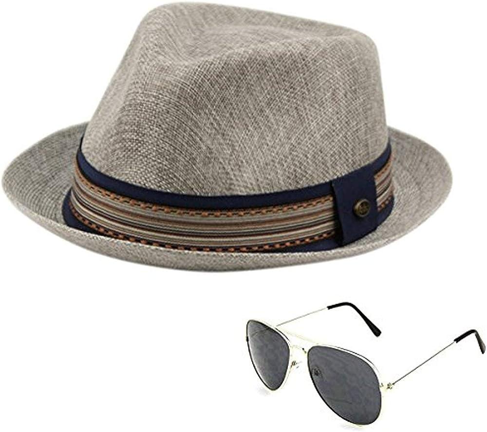 Men's Summer Lightweight Linen Fedora Hat with Aviator Sunglasses