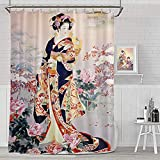 Lib Japanese Geisha Shower Curtain for Bathroom, Cloth Fabric Bathroom Shower Curtain Decor Set with 12 Hooks Waterproof Washable, 60 x 72 inch