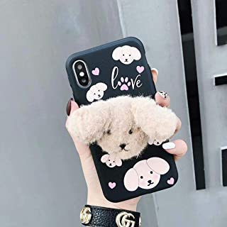 Twinlight Winter Cute Fur Poodle Dog Phone Case for iPhone 7 8 Plus Phone Holder Women Silicon Cover for iPhone X XS Max XR Case (Black, for iPhone 7plus 8plus)