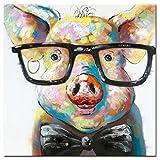 Fokenzary dipinto su tela di un simpatico maialino con occhiali in stile pop art realizzato a mano con struttura di sostegno pronto per essere appeso alla parete 16x16in