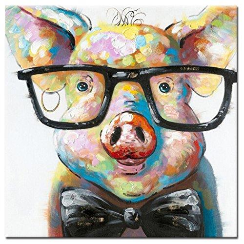Fokenzary Pintado a mano Cute Pig with Glasses Pop Wall Art Canvas Painting Enmarcado Listo para colgar