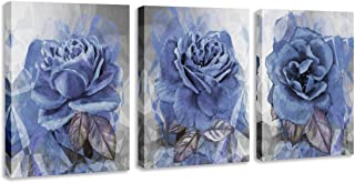 BIL-YOPIN Canvas Wall Art Flowers Painting 12x16inchx3 Pieces Framed Canvas Pictures Prints Contemporary Watercolor Artwork Ready to Hang for Home Decoration Office Wall Décor,3 Panels